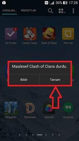 Clash of Clans Durduruldu Hatası ve Çözümü-1