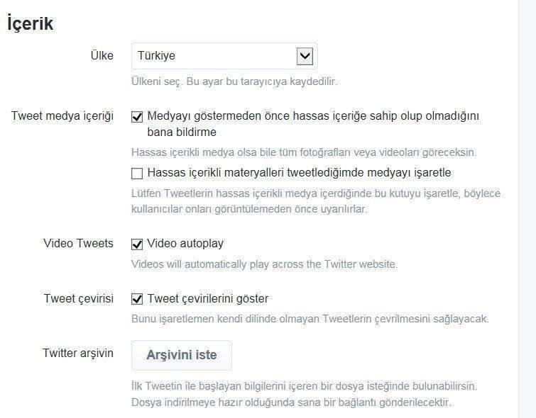 Twitter'da otomatik video oynatmayı kapatmak2