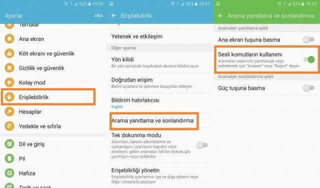 Samsung Galaxy Ses Komutuyla Arama Cevaplama ve Reddetme2