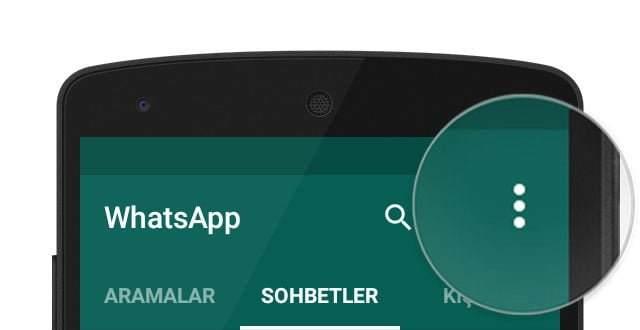 whatsapp Menu tuşu