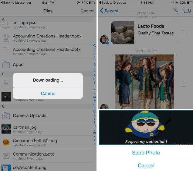 Facebook Messenger'dan Dropbox Dosyası Nasıl Gönderilir-2