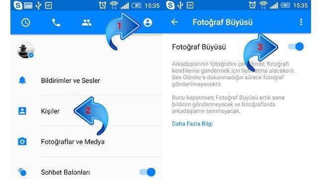 Facebook Messenger yüz tanıma sistemi ile resim paylaşmak