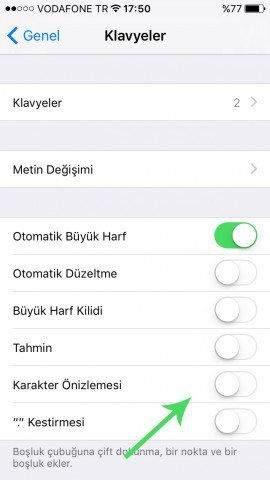 iOS 9'da Klavye Karakter Önizlemesi Nasıl Kapatılır-3