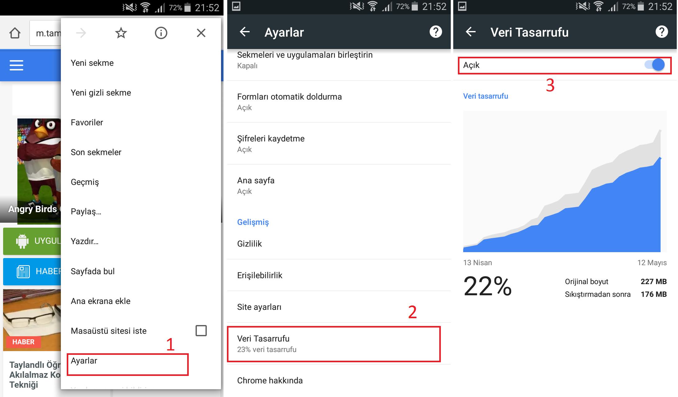 Google Chrome Veri Tasarrufunu Etkinleştirin