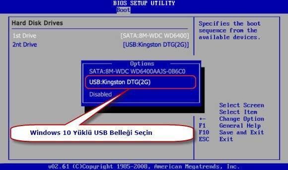 USB Bellekten Windows 10 Nasıl Yüklenir3