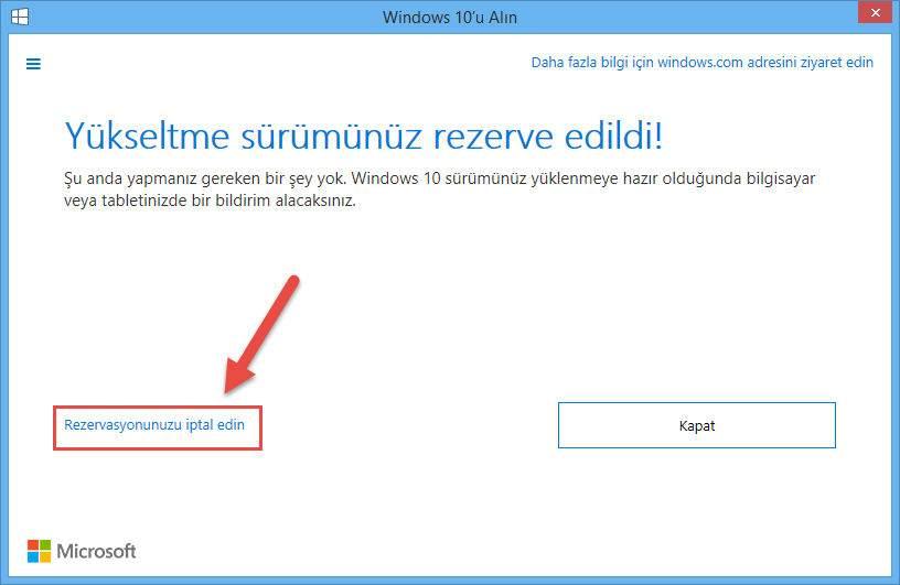 Windows 10 rezervasyonu nasıl iptal edilir-3