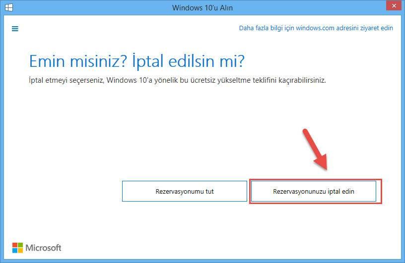 Windows 10 rezervasyonu nasıl iptal edilir-4