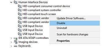 Windows 10'da Dokunmatik Ekran Kapatma