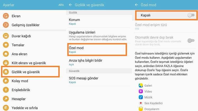 Samsung Cihazlarda Özel Mod Kullanımı1