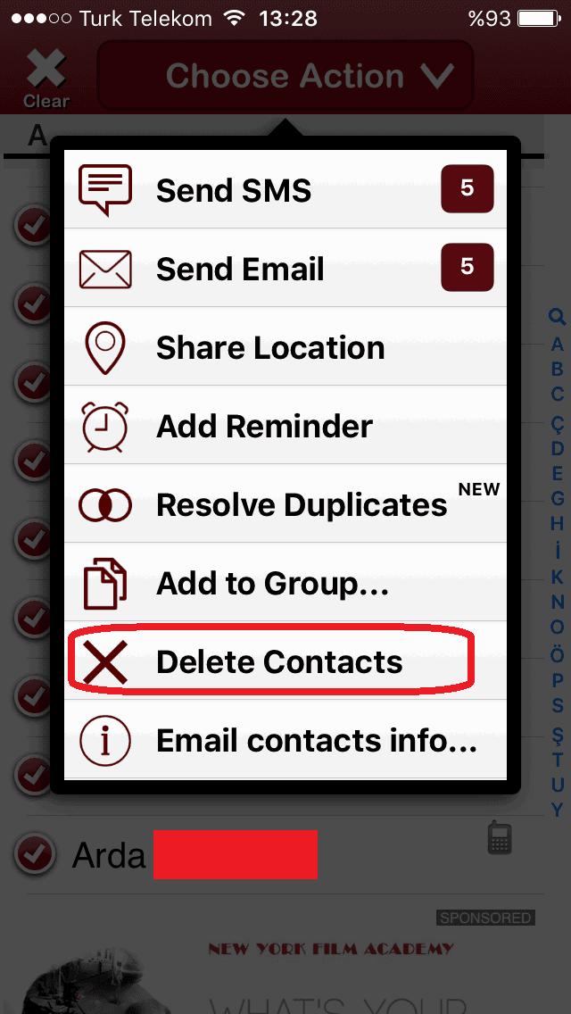 iPhone Rehberinde Birden Fazla Numara Nasıl Silinir1