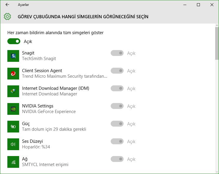 Windows 10 Görev Çubuğundan Bildirim Alanını Kaldırma