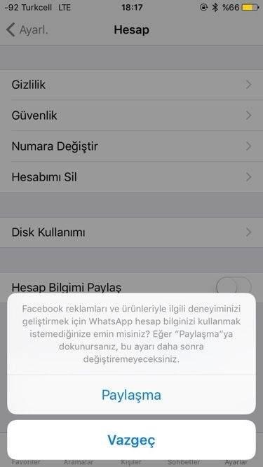 iOS için WhatsApp Bilgi Paylaşımı Kapatma1