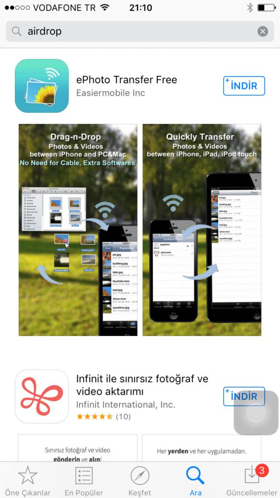 iPhone'dan Bilgisayara Wi-Fi Üzerinden Fotoğraf Gönderme1