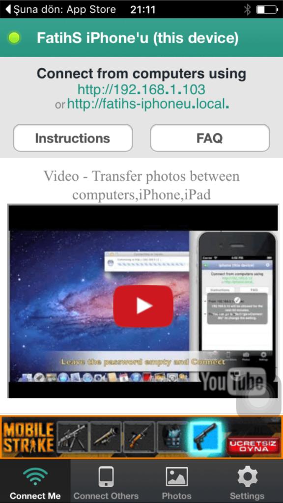 iPhone'dan Bilgisayara Wi-Fi Üzerinden Fotoğraf Gönderme2