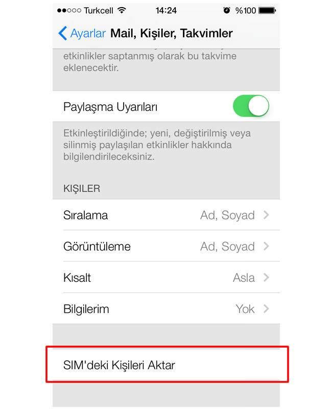 SIM Karttan iPhone'a Kişileri Aktarma
