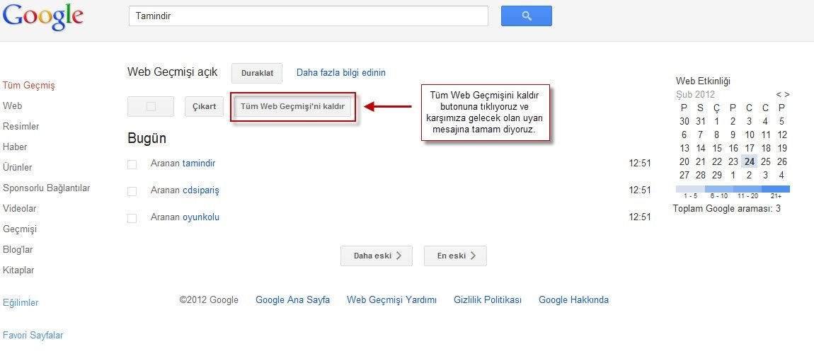 Google Web Geçmişi Nasıl Silinir-1