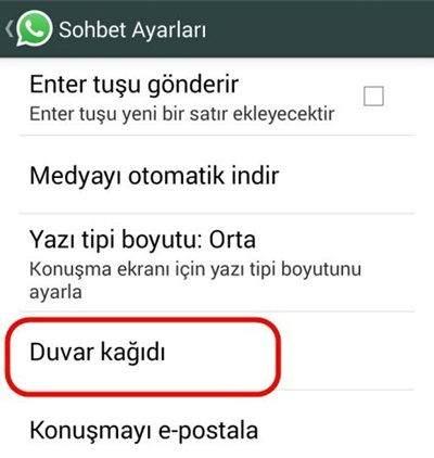 WhatsApp Duvar Kağıdı Değiştirme