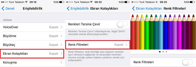 iPhone ve iPad'de Ekranın Renk Tonunu Ayarlama