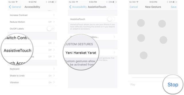 Assistive Touch'a Yeni Hareket Nasıl Eklenir?