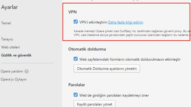 Opera VPN Bilgisayarda Nasıl Kullanılır