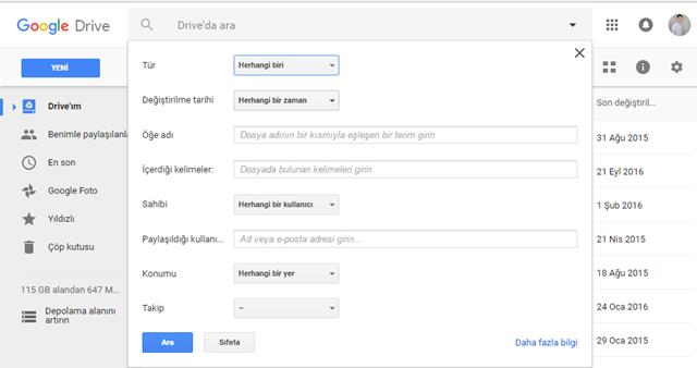 google drive'da hızlı arama