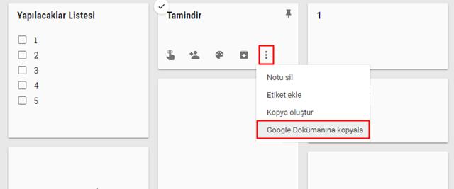 google keep'ten dokümanlara kopyalama
