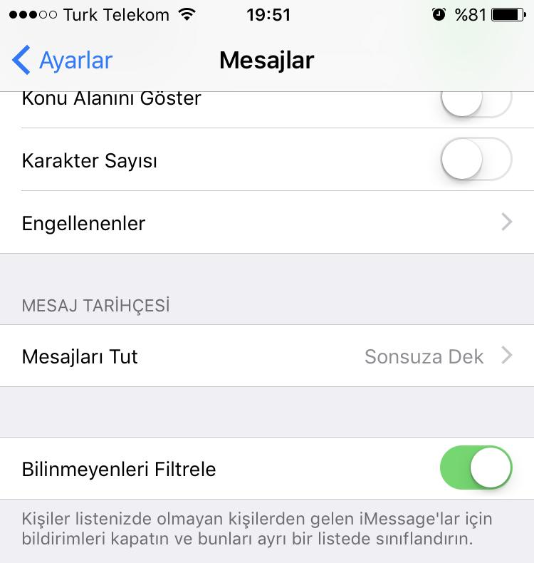 iMessage'da Spam Mesajları Engelleme