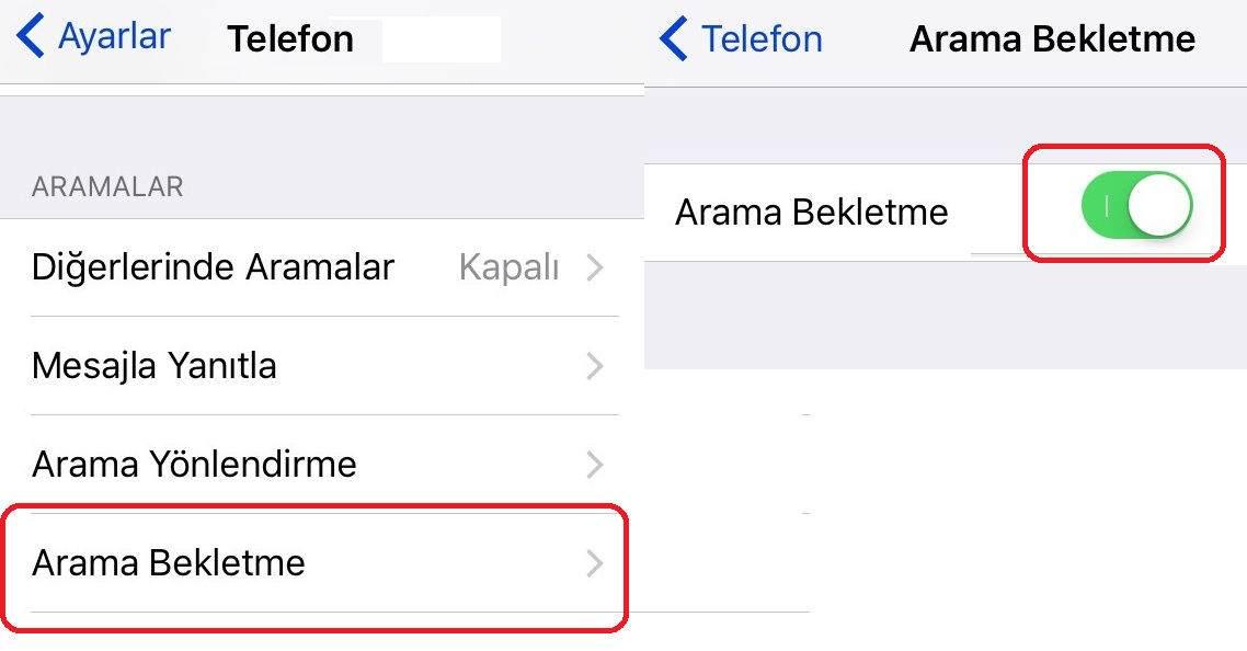 iPhone Çağrı Bekletme