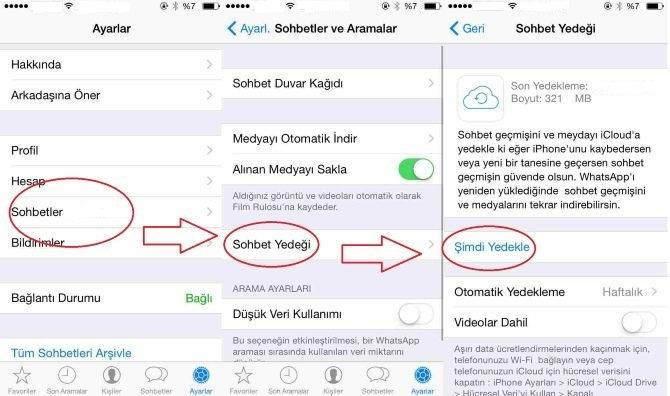 iPhone Whatsapp Sohbet Yedekleme ve Geri Yükleme Nasıl Yapılır