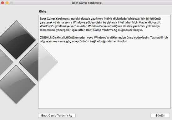 BOOTCAMP Mac'te Windows Çalıştırma
