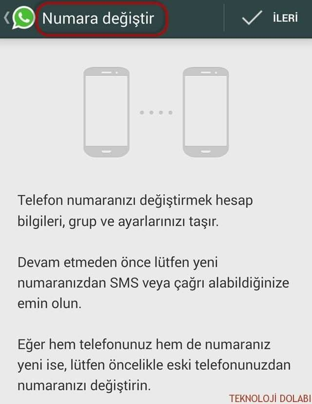 WhatsApp Telefon Numarasını Değiştirmek