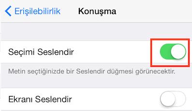 iOS'ta Mesaj veya Maillerinizi Türkçe Okutmak