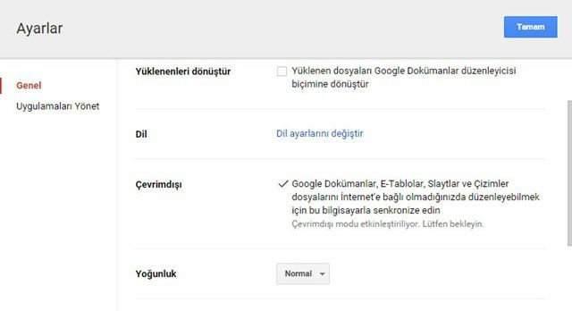 Google Drive Çevrımdışı Kullanma