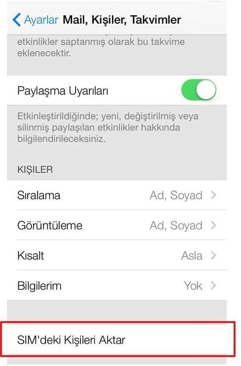 iPhone Sim Kartı Telefona Aktarma