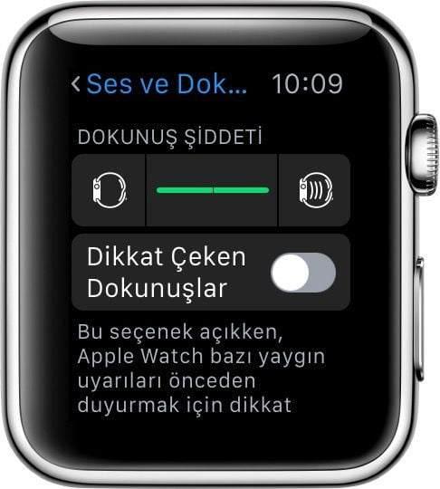 Apple Watch'unuzda dokunuş tabanlı uyarıların şiddetini ayarlama 1