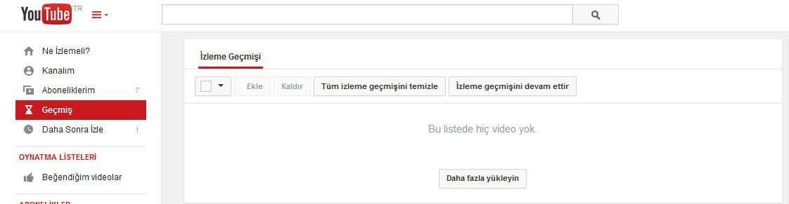 Youtube geçmiş