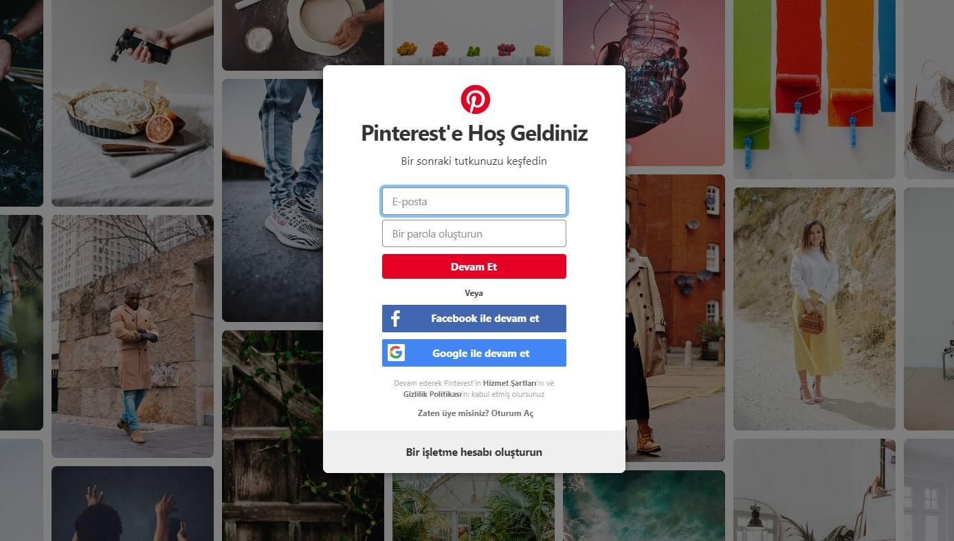 Pinterest kayıt
