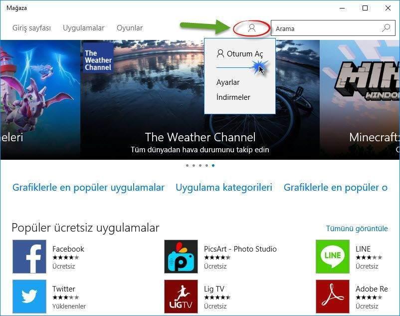 Windows 10 Mağazada Oturum Açma ve Uygulama Edinme 4