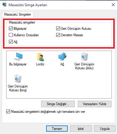 Windows 10'da Masaüstünü Geri Getirme
