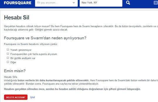Foursquare ve Swarm'da Hesap Kapatma Nasıl Yapılır?