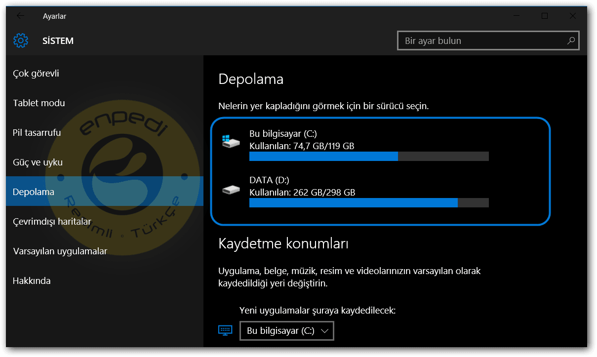 Windows 10 Akıllı Depolama