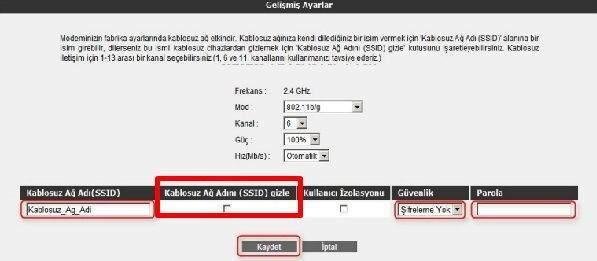 Airties Kablosuz Ağ Adı (SSID) nasıl gizlenir
