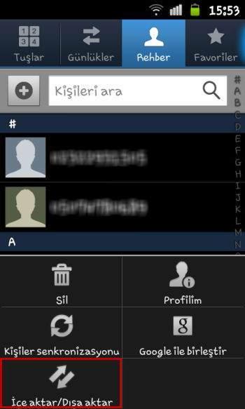 Android rehber yedekleme