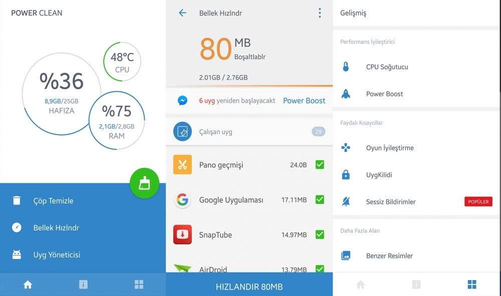 Android Telefonu Hızlandırmak için En İyi Uygulamalar-Power Clean