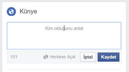 Facebook Kendinizi 101 karakterle tanımlayın