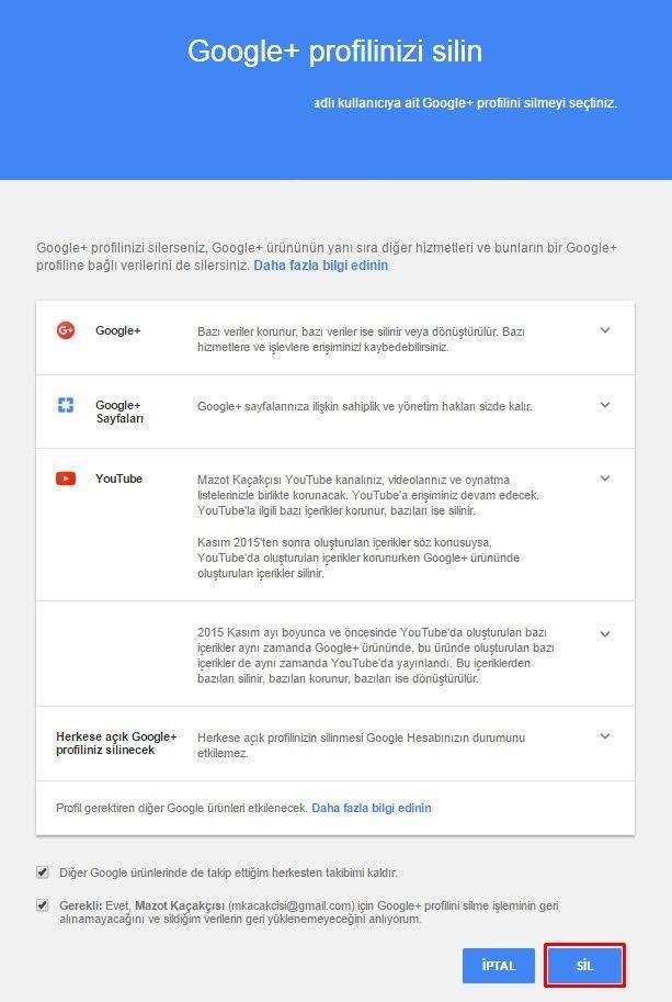 Google Plus (G+ veya Google+) Hesabı Nasıl Silinir-2