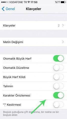 iOS 9'da Klavye Karakter Önizlemesi Nasıl Kapatılır-2