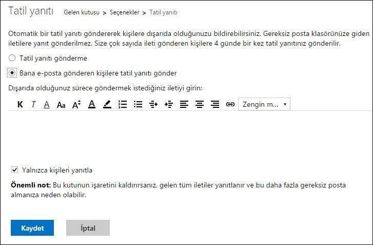 Hotmail'de Otomatik Tatil Yanıtı Nasıl Oluşturulur3