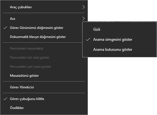 Windows 10′ da Arama Çubuğu Nasıl Kaldırılır1