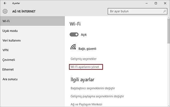 Windows 10′ da Wi-Fi Ağı Unut İşlemi Nasıl Yapılır2
